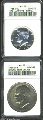 1966 50C SMS MS64 ANACS, ADR-002, DMR-33, an extremely attractive example of an issue which produced several interesting...