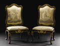 Furniture : Continental, A Pair of Eighteenth Century Venetian Tall Chairs. Unknown maker,Venice, Italy. Eighteenth Century. Painted wood. Unmarke... (Total:2 )
