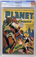 Golden Age (1938-1955):Science Fiction, Planet Comics #27 (Fiction House, 1943) CGC VF- 7.5 Off-white towhite pages....