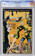 Golden Age (1938-1955):Science Fiction, Planet Comics #35 (Fiction House, 1945) CGC VF- 7.5 Off-white towhite pages....