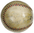Autographs:Baseballs, Early 1930's St. Louis Cardinals Greats Signed Baseball with Dean Brothers. One smart fan knew talent when he saw it, and s...