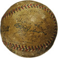 Autographs:Baseballs, 1928 New York Yankees Team Signed Baseball. Murderer's Row was atits homicidal height when this OAL (Johnson) baseball mad...