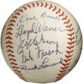 Autographs:Baseballs, 1972 Hall of Famers Multi-Signed Baseball. Birthed at the 1972Cooperstown induction ceremonies, this ONL (Feeney) ball pro...