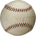 Autographs:Baseballs, Circa 1927 Walter Johnson Single Signed Baseball. This particular style of red and black stitched ONL (Heydler) ball was ma...