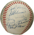 Autographs:Baseballs, 1955 New York Yankees Team Signed Baseball. Only a masterful pitching performance from Brooklyn Dodgers ace Johnny Podres c...