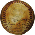 Autographs:Baseballs, 1938 New York Giants Team Signed Baseball. Hall of Fame outfielderMel Ott topped the National League charts this season wi...