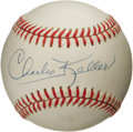 "Autographs:Baseballs, 1980's Charlie Keller Single Signed Baseball. Dubbed ""King Kong""for his impressive physique and thunderous bat, Keller was..."
