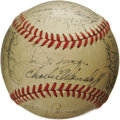 Autographs:Baseballs, 1947 New York Yankees Team Signed Baseball. After closing out theregular season twelve games ahead of the American League ...