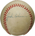 "Autographs:Baseballs, Late 1940's Jackie Robinson ""SIngle Signed"" Baseball. With theNational League presidency of Ford Frick ending in the middl..."