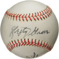 "Autographs:Baseballs, 1960's Lefty Grove ""Single Signed"" Baseball. This superstarsouthpaw was a key ingredient in Connie Mack's second great dyn..."
