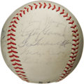 Autographs:Baseballs, 1960's Old Timers Day Multi-Signed Baseball with Two Jimmie FoxxSignatures. This incredible ONL (Giles) ball derives from ...