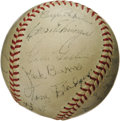 Autographs:Baseballs, 1936 Detroit Tigers Team Signed Baseball. The defending WorldChamps couldn't make it two in a row this season, but this is...