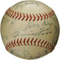 Autographs:Baseballs, Early 1950's Multi-Signed Baseball with Jimmie Foxx. The nicest Foxx autograph you'll ever find on a baseball takes up resi...
