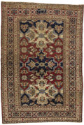 "Rugs & Textiles:Carpets, An Antique Indo Isfahan Rug. East Persia. Circa 1800. Wool. 75.6inches x 52.75 inches. ""Mughal"" Design, signed...."