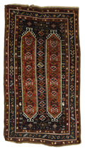 Rugs & Textiles:Carpets, An Antique Kazak Rug. Caucasus. Circa 1880. Wool. 87 inches x 47.66inches. Woven with a wonderful brick background and ...