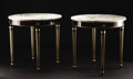 Furniture : Continental, A Pair of Circular Marble Top Directoire-Style Occasional Tables.Unknown maker, Continental. Undated. Wood, marble. Umark...