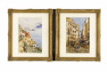 Paintings, A Pair of Italian Genre Paintings. Felix Hollenberg, German. 1882. Watercolor on paper. Signed and dated: Fritz Holbenbe... (Total: 2 )