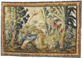 Rugs & Textiles:Tapestries, An Aubusson Tapestry. 18th Century. Silk, wool. 8 feet x 13 feet.Exotic architecture is combined with flora and fauna i...