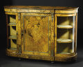 Furniture: English, An English Victorian Glazed Cabinet. Unknown maker, English. Late nineteenth century. Walnut and satinwood veneer, gilt me...