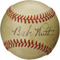 Autographs:Baseballs, 1940's Babe Ruth Single Signed Baseball. No serious baseballcollection could be considered complete without the Bambino wi...