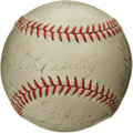 Autographs:Baseballs, 1935 New York Yankees Team Signed Baseball. No longer laboringunder the shadow of the Babe, the great Lou Gehrig takes his...