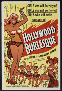 "Hollywood Burlesque (Continental, 1949). One Sheet (27"" X 41""). Comedy Burlesque. Starring Jenne, Hillary Dawn..."