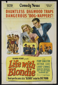 """Life With Blondie (Columbia, 1945). One Sheet (27"""" X 41""""). Comedy. Starring Penny Singleton, Arthur Lake, Larr..."""