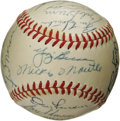 Autographs:Baseballs, 1956 New York Yankees Team Signed Baseball. Widely considered by baseball historians to be one of the finest Yankees squads...