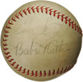 Autographs:Baseballs, 1940's Babe Ruth Signed Baseball. The great Bambino is joined byfellow Hall of Famers Enos Slaughter and Red Schoendienst ...