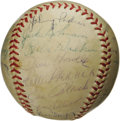 Autographs:Baseballs, 1953 Brooklyn Dodgers Team Signed Baseball. Another National Leaguepennant for Dem Bums, followed by another heartbreaking...