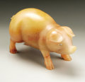 Decorative Arts, Continental:Other , A Russian Carved Hardstone Figure Of A Pig. Attributed to KarlFaberge, St. Petersburg, Russia. Early Twentieth Century. H...
