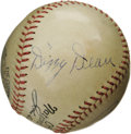 Autographs:Baseballs, 1934 Dizzy & Daffy Dean Signed Baseball. Ford Frick's ascendance to the National League presidency in 1935 assures that thi...