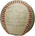 Autographs:Baseballs, 1947 Brooklyn Dodgers Team Signed Baseball with Jackie Robinson andBranch Rickey. Arguably the most important baseball tea...