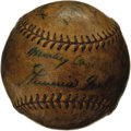Autographs:Baseballs, 1933 Philadelphia Athletics Team Signed Baseball. The strong sweet spot pairing of twin Hall of Famers Jimmie Foxx and Mick...
