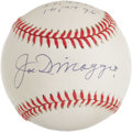 "Autographs:Baseballs, 1990's Joe DiMaggio Single Signed ""Statistics"" Baseball. Incredible""stat"" ball is a great departure from the singles we ty..."