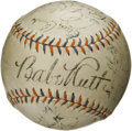 Autographs:Baseballs, 1934 New York Yankees Team Signed Baseball. Historic sphererepresents the final season in the Bronx for the man who define...