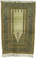 Rugs & Textiles:Carpets, A Turkish Silk Prayer Rug. West Anatolia. Circa 1950. Silk, wool.46 inches x 70 inches...