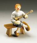 Other:European, A Russian Hardstone Figure of a Musician. Unknown maker, Russian.Twentieth Century. Various hardstones. 3.75 in. high. ...