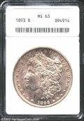 1893 $1 MS63 ANACS. A highly lustrous and lightly toned example of this scarcer P-mint Dollar from the 1890s. From the...