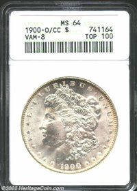 1900-O/CC $1 MS64 ANACS. VAM-8. Top 100 Variety. A flashy and carefully preserved near-Gem that has a blush of periphera...