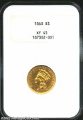 Three Dollar Gold Pieces: , 1860 $3 XF45 NGC. Coin is lustrous with nice surfaces....