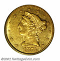 Liberty Half Eagles: , 1876-CC $5 AU55 PCGS. Winter 1-A. While not quite of the ...