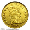 Early Eagles: , 1801 $10--Repaired, Rim Damage--ANACS. AU Details, Net XF40....