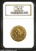 Liberty Eagles: , 1854-O $10 Large Date AU50 NGC. Somewhat heavily abraded ...