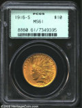 Indian Eagles: , 1916-S $10 MS61 PCGS. Sharply struck with bright golden-...