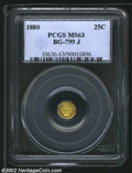 California Fractional Gold: , 1880 25C Indian Octagonal 25 Cents, BG-799J, R.5, MS63 PCGS....