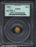 California Fractional Gold: , 1881 25C Indian Octagonal 25 Cents, BG-799O, High R.5, MS65 ...