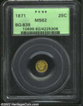 California Fractional Gold: , 1871 25C Liberty Round 25 Cents, BG-838, R.4, MS62 PCGS. ...