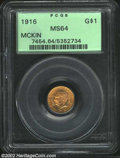 Commemorative Gold: , 1916 $1 McKinley MS64 PCGS. Only a few shallow hairlines ...