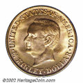 Commemorative Gold: , 1917 $1 McKinley MS64 PCGS. Swirling luster dances about ...